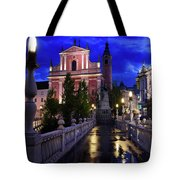 Reflections On Wet Triple Bridge After Rain At Dawn With Lights  Tote Bag