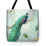 Regal Peacock 1 On Tree Branch W Feathers Gold Leaf Tote Bag