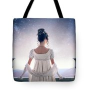 Regency Woman Looking At The Stars In The Night Sky  Tote Bag