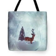 Reindeer In Glass Snow Globe  Tote Bag