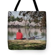 Relaxing Under Cherry Blossoms Tote Bag