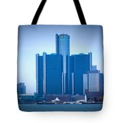 Gm Renaissance Center In Downtown Detroit, Michigan Tote Bag