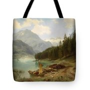 Resting By The Mountain Lake Tote Bag