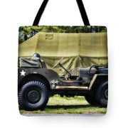 Restored Willys Jeep And Tent At Fort Miles Tote Bag