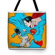 Retro Batman V Superman Tote Bag