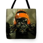Retro Car In Orange Tote Bag