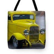 Retro Car In Yellow Tote Bag