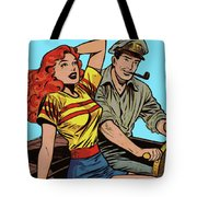 Retro Couple On Boat Comic Style Tote Bag