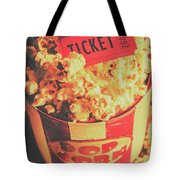 Retro Film Stub And Movie Popcorn Tote Bag