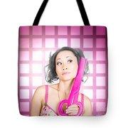 Retro Hairdresser Holding Big Pair Of Scissors Tote Bag