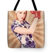 Retro Pinup Boxing Girl Fist Pumping Glove Hand  Tote Bag
