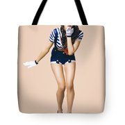 Retro Pinup Girl Blowing Travelling Departure Kiss Tote Bag