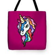 Retro Rainbow Unicorn Tote Bag