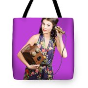 Retro Receptionist On Vintage Telephone. Call Us Tote Bag