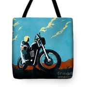 Retro Scrambler Motorbike Tote Bag