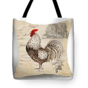 Retro Style Beige Chicken Rooster Farm House Tote Bag