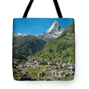 Retro Swiss Travel Zermatt And Mount Matterhorn  Tote Bag