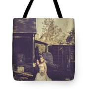 Retro Wedding Couple At Australian Farm Cottage Tote Bag
