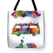 Retro Wheels Watercolor Tote Bag