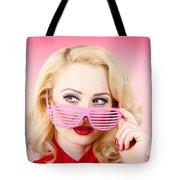 Retro Woman Model Wearing Summer Sun Glasses Tote Bag