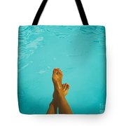 Retro Young Girl Relaxing Her Feet At Swimming Pool Tote Bag