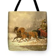 Returning Home In Winter Tote Bag by Charles Ferdinand De La Roche