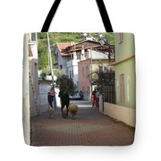 Returning Home With Sheep And Lambs In Bozburun Tote Bag