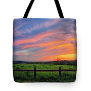 Retzer Nature Center - Summer Sunset Over Field And Fence Tote Bag