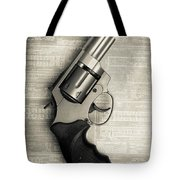 Revolver Pistol Gun Over Drawings Tote Bag