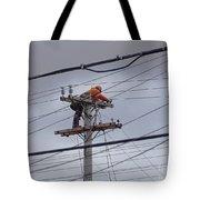 Rewiring A Power Pole Tote Bag
