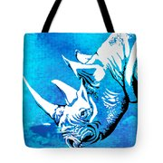 Rhino Animal Decorative Blue Poster 1 - By  Diana Van Tote Bag
