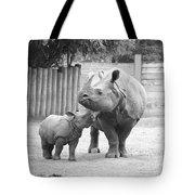 Rhino Mom And Baby Tote Bag