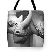 Rhinos In Black And White Tote Bag