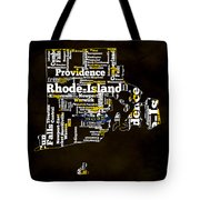 Rhode Island Typographic Map Tote Bag