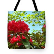 Rhodies Art Prints Red Rhododendron Floral Garden Landscape Baslee Tote Bag