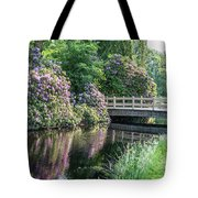 Rhododendrons And Wooden Bridge In Park Tote Bag