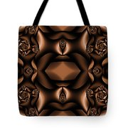 Rich Coffee Fractal Roses Tote Bag