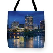 Richmond Skyline Above James River At Night 11972 Tote Bag