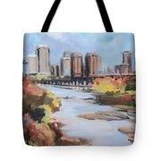 Richmond Virginia Skyline In Autumn Tote Bag