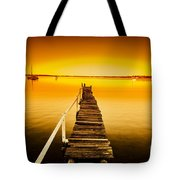Rickety Pier Sunset Tote Bag