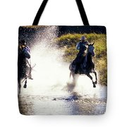 Riders In A Creek Tote Bag