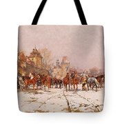 Riders Outside A Village In A Winter Landscape Tote Bag