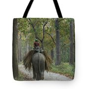 Riding An Elephant Tote Bag