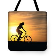 Riding At Sunset Tote Bag