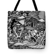 Riding Life In A Old Red Bicycle... Tote Bag