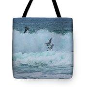 Riding The Waves At Wall Beach Tote Bag