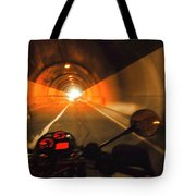 Riding Through One Of The Many Tunnels In The Italian Alps Tote Bag