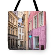 Riga Narrow Road Digital Painting Tote Bag
