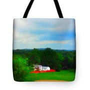Right Field And Green Meadows Tote Bag