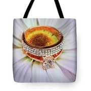 rings on white daisy love Valentine's Day  gerbera and wedding gold  Tote Bag